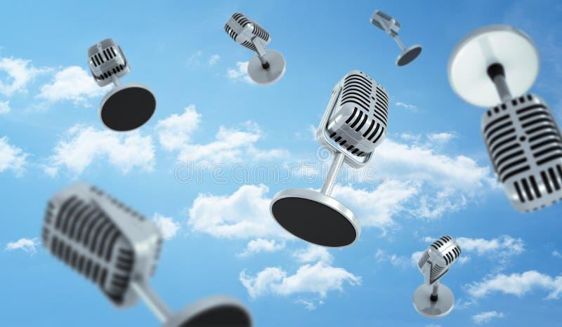 het 3d teruggeven van een vele oude stijlmicrofoons met een kleine vlieg van de rondetafeltribune op de bewolkte hemelachtergrond stock foto's
