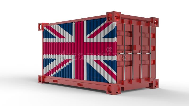 het 3d teruggeven van een verschepende ladingscontainer met Britse vlag vector illustratie