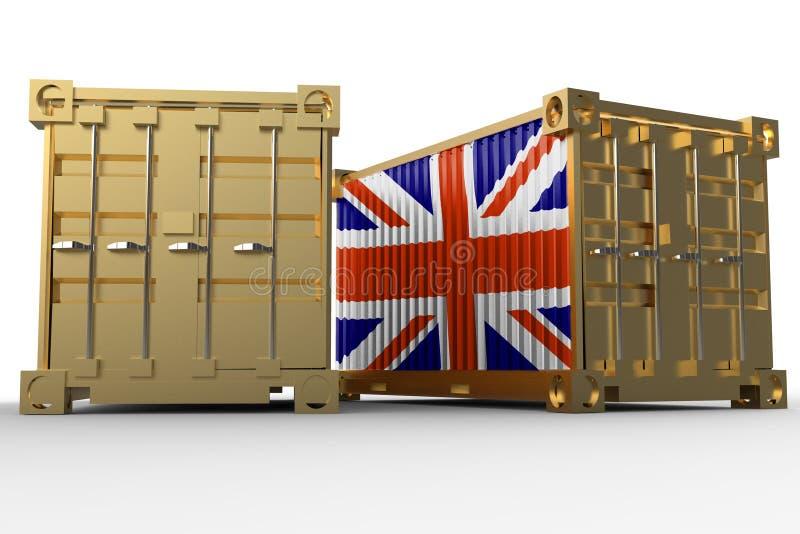 het 3d teruggeven van een verschepende ladingscontainers met Britse vlag stock illustratie