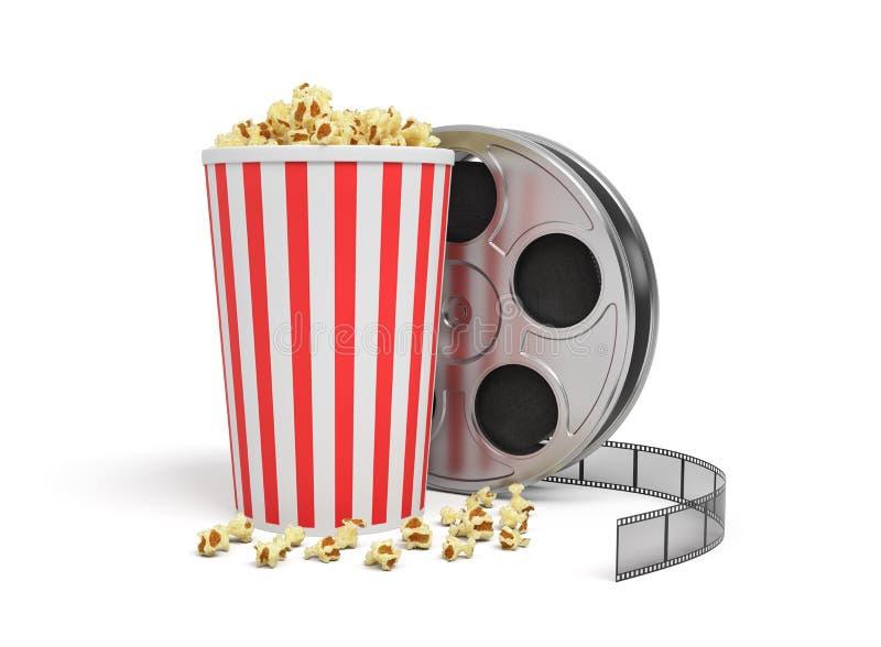 het 3d teruggeven van een videospoel met het videohoogtepunt van de film aand grote emmer van popcorn stock foto's