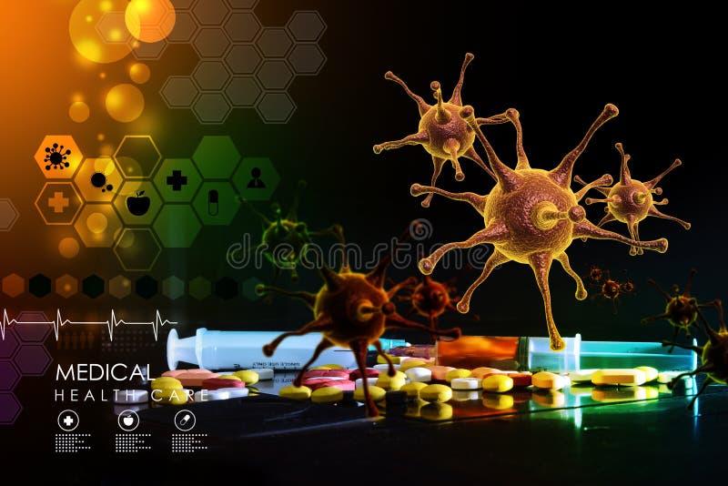 het 3d teruggeven van een virus stock illustratie