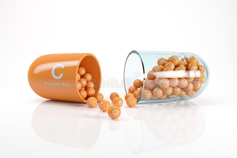 het 3d teruggeven van een vitaminecapsule met vitamine C - ascorbinezuur royalty-vrije illustratie