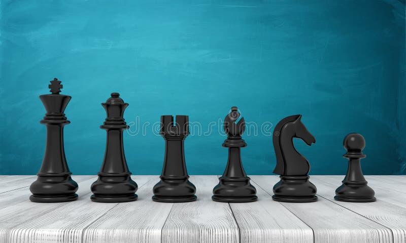 het 3d teruggeven van een volledige reeks zwarte schaakbeeldjes van de soort aan het pand die zich in lijn op een houten lijst be vector illustratie