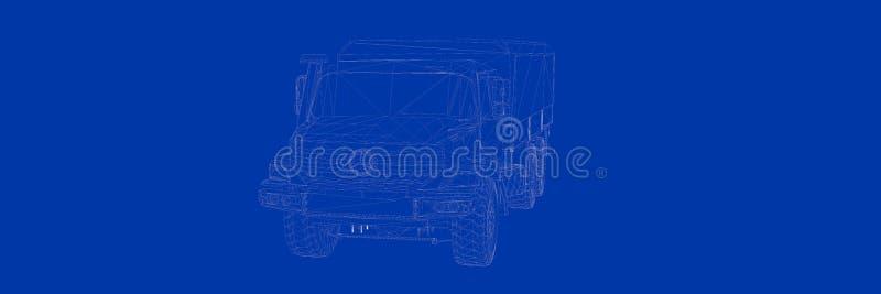 het 3d teruggeven van een vrachtwagen op een blauwe blauwdruk als achtergrond stock illustratie
