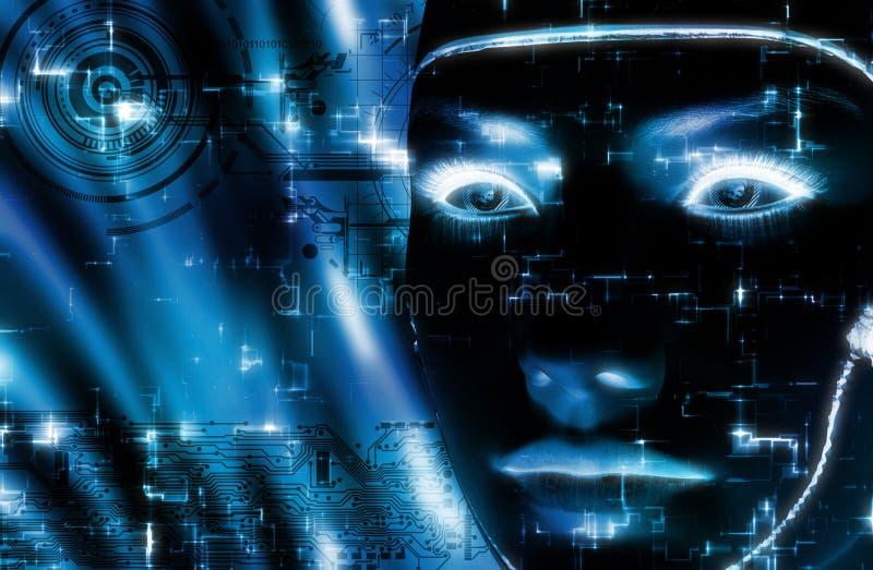 het 3D teruggeven van een vrouwelijk robotgezicht stock illustratie