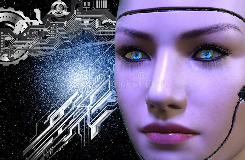 het 3D teruggeven van een vrouwelijk robotgezicht royalty-vrije illustratie