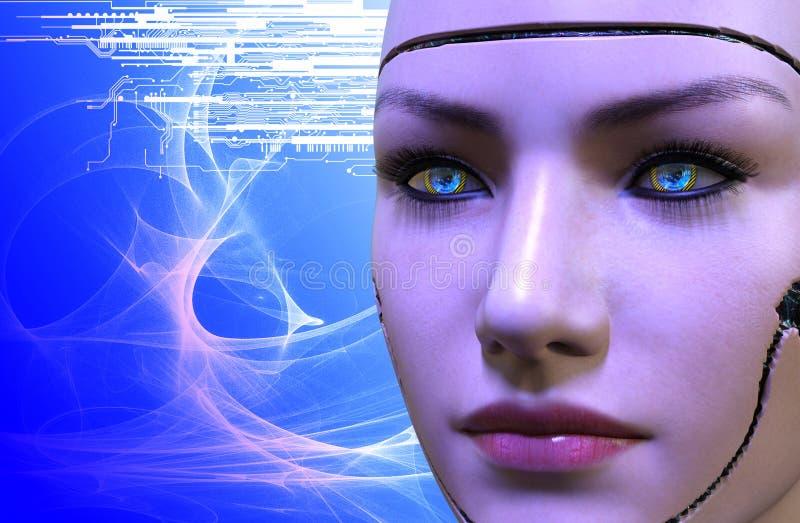 het 3D teruggeven van een vrouwelijk robotgezicht vector illustratie