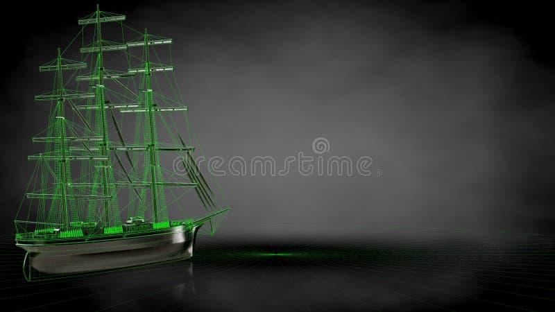 het 3d teruggeven van een weerspiegelende piraatboot met geschetst groen lin stock illustratie