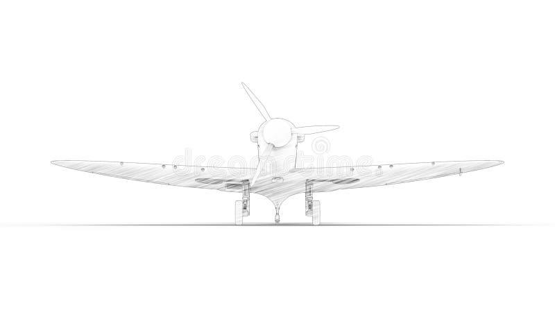 het 3d teruggeven van een wereldoorlog twee vechtersvliegtuig dat op witte achtergrond wordt geïsoleerd stock illustratie