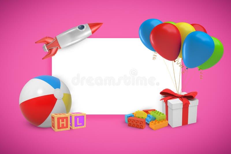 het 3d teruggeven van een witte schrijvende die raad met speelgoed wordt omringd en een huidige doos met kleurrijke ballons bond  stock illustratie