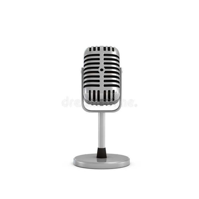 het 3d teruggeven van een zilveren microfoon van het metaal retro tafelblad met een ronde basis royalty-vrije illustratie