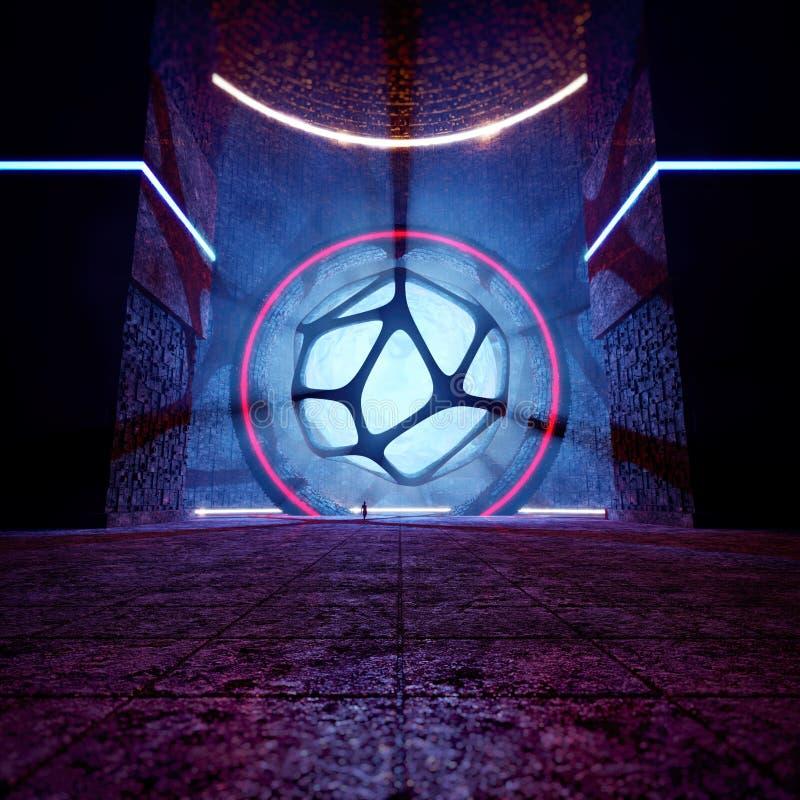het 3D Teruggeven van Futuristische Energietempel stock illustratie