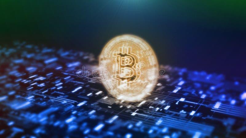 het 3D Teruggeven van het futuristische moderne gloeien Bitcoin BTC leidde embleemhologram hangt over blauwe abstracte kringsacht vector illustratie