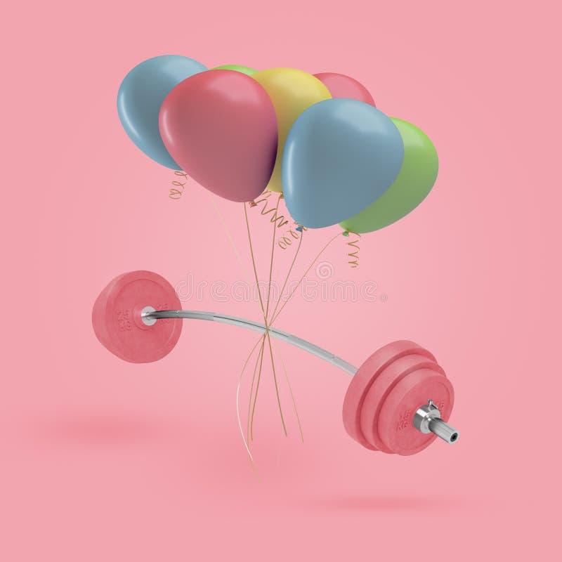 het 3d teruggeven van gebogen barbell met zware roze gewichten hangt met een reeks kleurrijke die luchtballons aan het worden geb vector illustratie