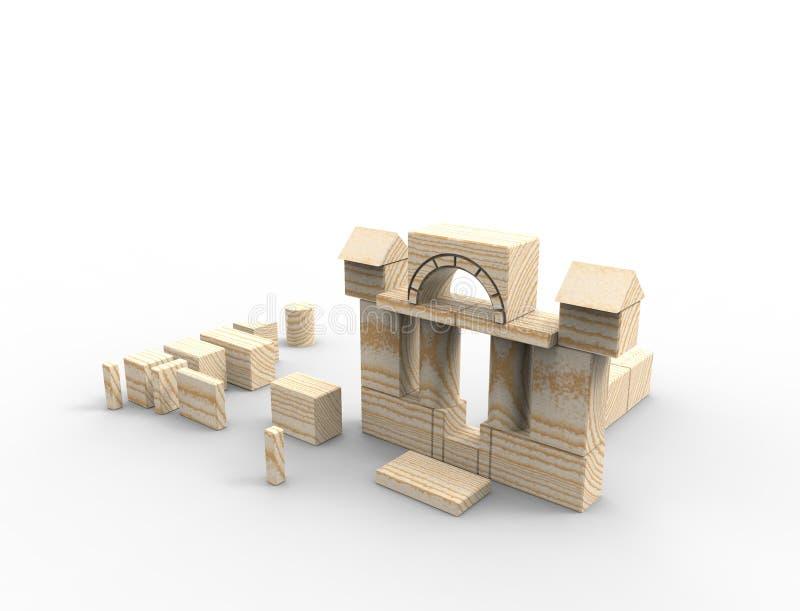 het 3d teruggeven van gestapelde houten die bouwstenen op witte achtergrond worden geïsoleerd stock illustratie