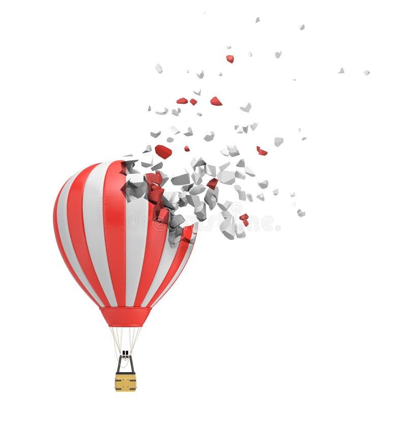 het 3d teruggeven van gestreepte rode en witte luchtballon die die aan disslove in stukken beginnen op witte achtergrond worden g royalty-vrije stock afbeeldingen