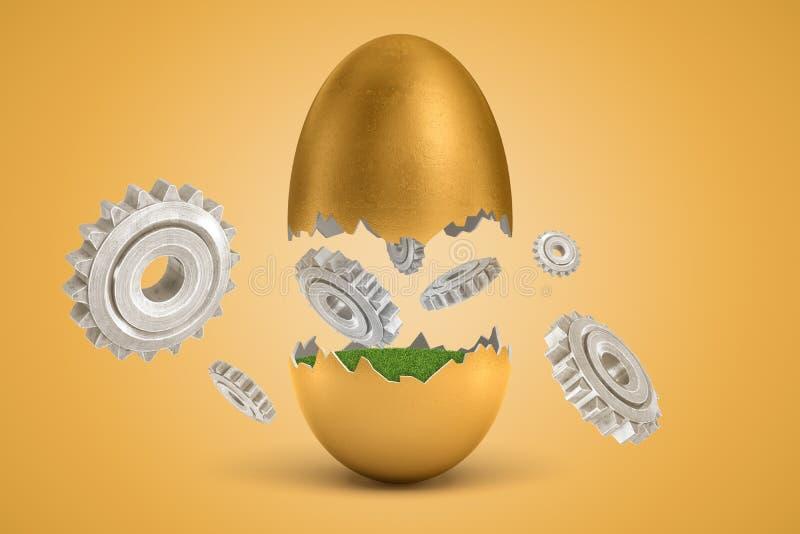 het 3d teruggeven van gouden ei barstte in twee, lager - half met groen binnen gras, bovenste half in lucht, met verscheidene tan stock illustratie