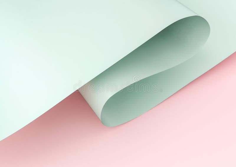 het 3d teruggeven van groen gegolft die document op roze achtergrond wordt geïsoleerd royalty-vrije stock foto's
