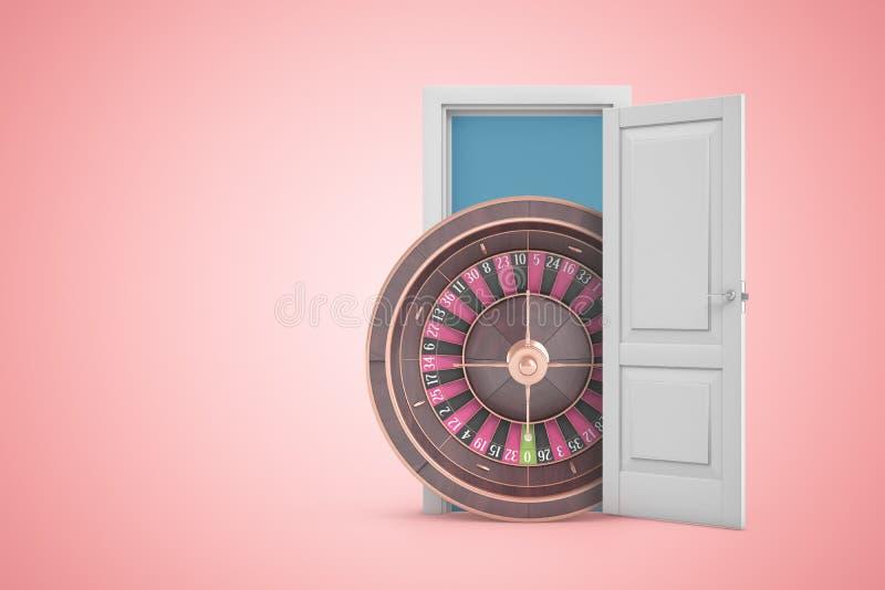 het 3d teruggeven van groot casinowiel die uit open deur op roze gradiënt copyspace achtergrond te voorschijn komen stock illustratie