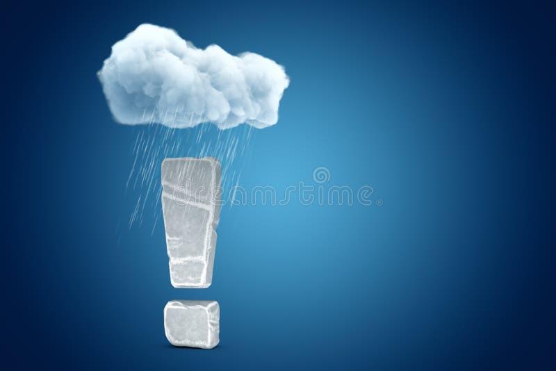 het 3d teruggeven van groot die uitroepteken van steen wordt gemaakt, die zich onder regenende wolk op blauwe exemplaar ruimteach stock illustratie