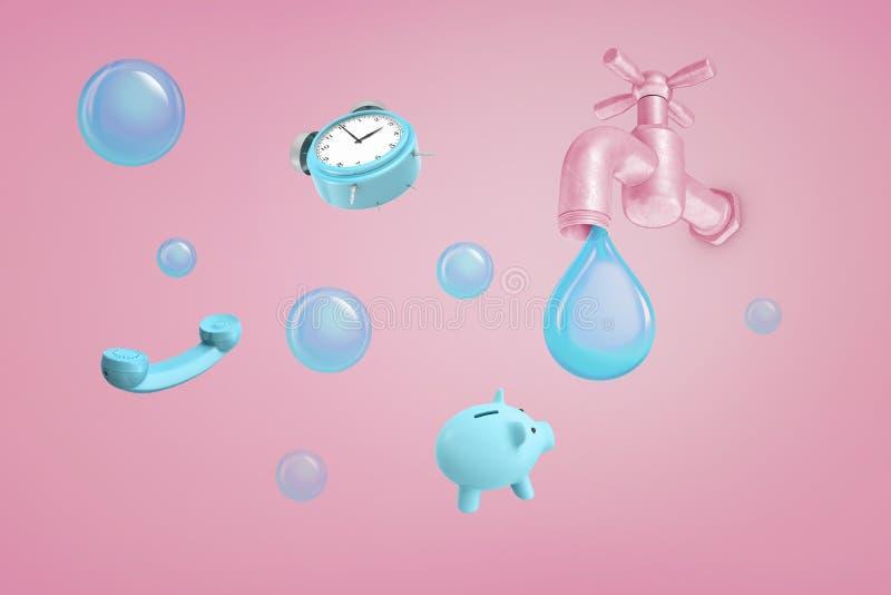 het 3d teruggeven van grote roze waterkraan met een reuze blauwe waterdruppel die van het dichtbij een spaarvarken, een telefoon  royalty-vrije stock fotografie