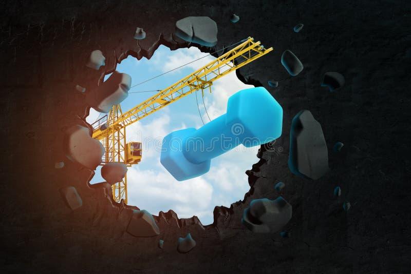het 3d teruggeven van het hijsen van kraan die blauwe domoor dragen en zwarte muur breken die gat daarin met blauwe gezien hemel  stock illustratie