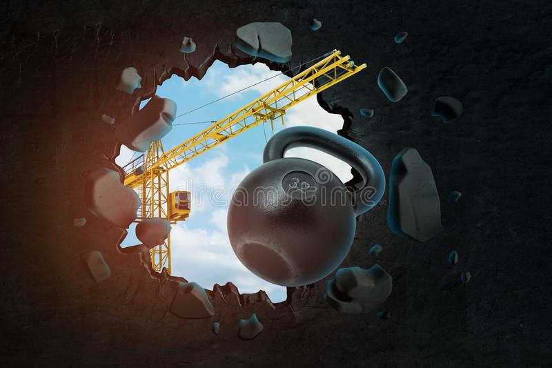 het 3d teruggeven van het hijsen van kraan die zwarte kettlebell dragen en zwarte muur breken die gat daarin met blauwe gezien he stock illustratie