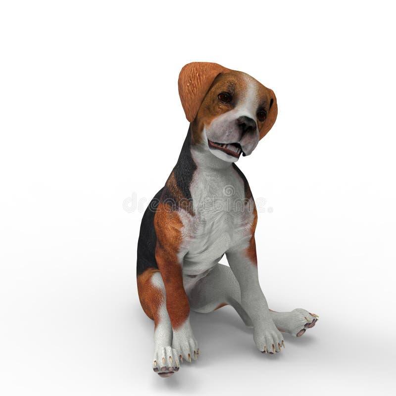 het 3d teruggeven van hond door een mixerhulpmiddel te gebruiken dat wordt gecreeerd vector illustratie