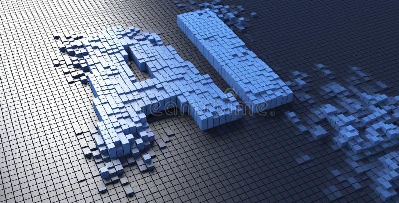 het 3d teruggeven van kleine blauwe vakjes die de AI brievenkunstmatige intelligentie vormen - Illustratie stock foto's