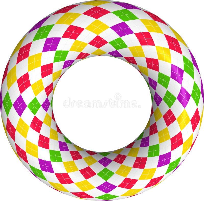 het 3D teruggeven van kleurrijke Argyle-ring op witte achtergrond royalty-vrije stock afbeeldingen