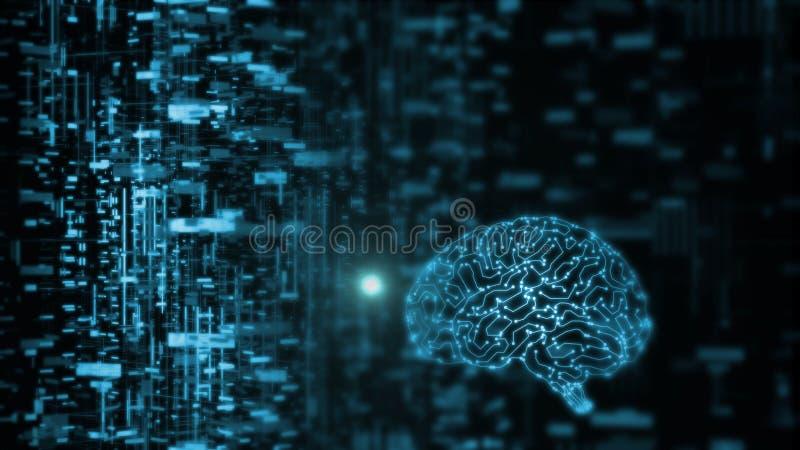 het 3D Teruggeven van kunstmatige intelligentie AI werkt met abstracte gegevens Gloeiende hersenenkring vector illustratie