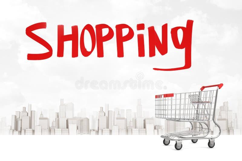 het 3d teruggeven van leeg supermarktkarretje met titel die boven en met erachter cityscape in afstand winkelen stock illustratie