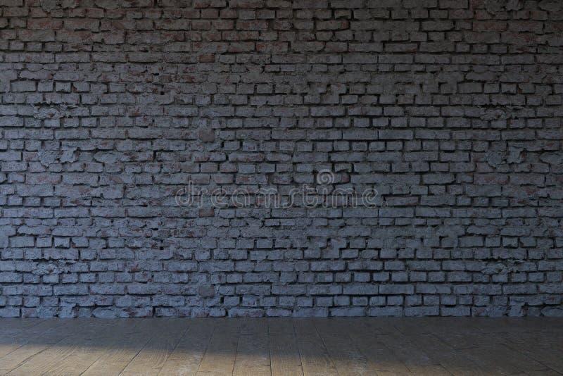 het 3D teruggeven van lege witte bakstenen muur met oude parket binnen vloer stock illustratie