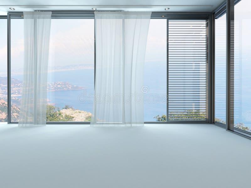Het 3D Teruggeven van lege witte woonkamer met gordijnen royalty-vrije illustratie