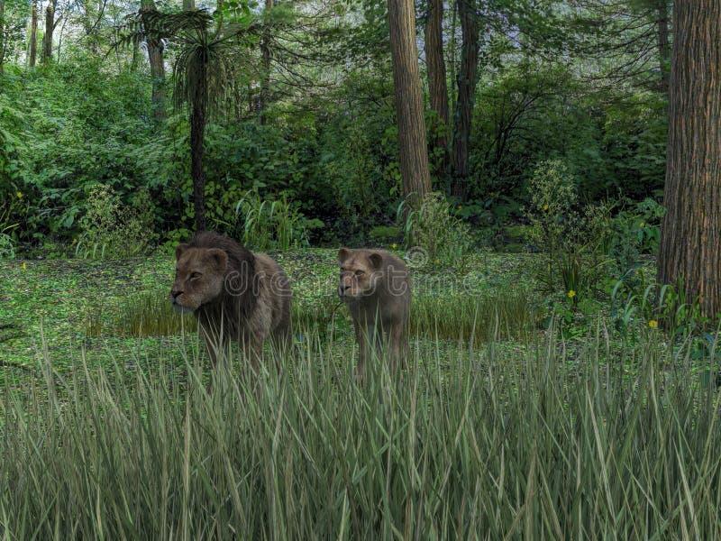 het 3d teruggeven van mannelijke en vrouwelijke leeuwen royalty-vrije illustratie