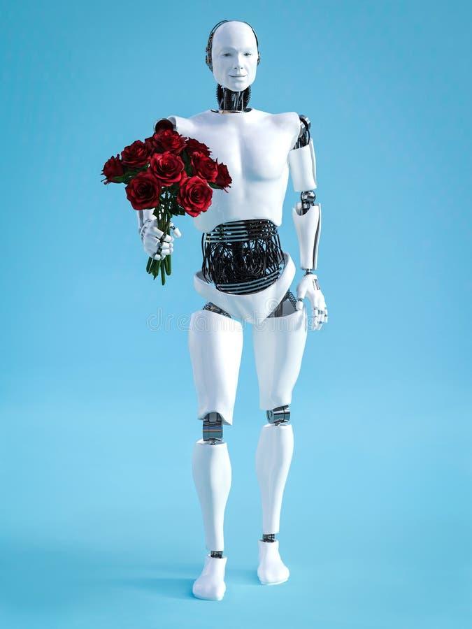 het 3D teruggeven van mannelijke robot die een boeket van rozen houden stock illustratie