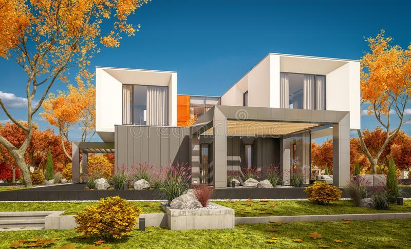 het 3d teruggeven van modern huis in de dag van de tuinñ lear zonnige herfst  royalty-vrije stock fotografie