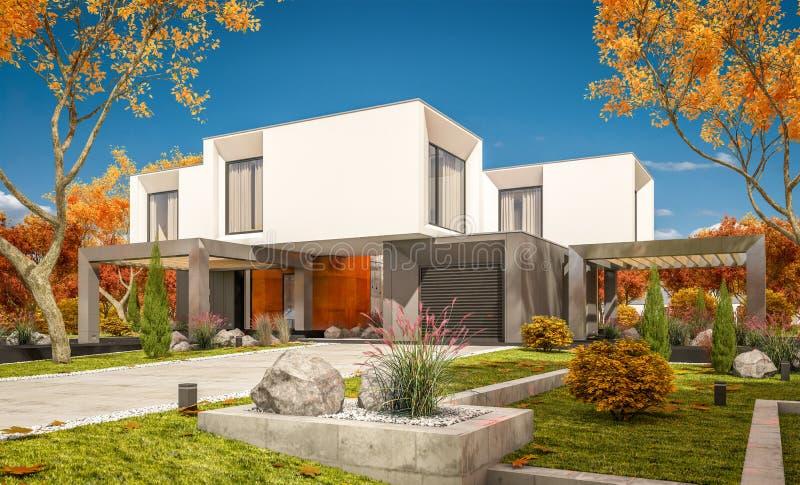 het 3d teruggeven van modern huis in de dag van de tuinñ lear zonnige herfst  royalty-vrije illustratie