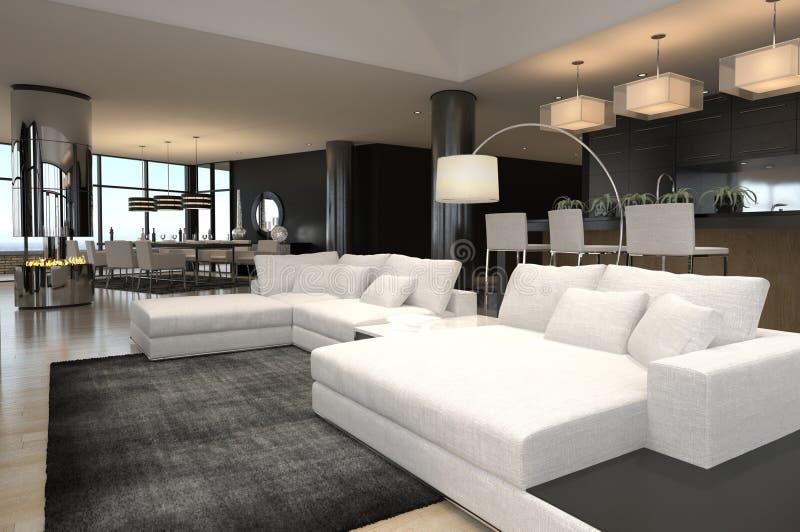 Modern woonkamerbinnenland   De Zolder van het ontwerp royalty-vrije illustratie