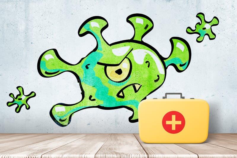 het 3d teruggeven van muur met tekening van grote groene monster-als bacterie en van de gele arts geval op houten vloer bij royalty-vrije illustratie