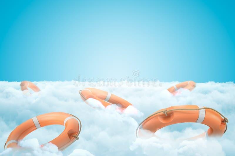 het 3d teruggeven van oranje reddingsboeiringen in witte wolken op blauwe achtergrond royalty-vrije illustratie