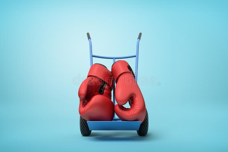 het 3d teruggeven van paar grote rode bokshandschoenen op blauwe handvrachtwagen die zich in helft-draai op lichtblauwe achtergro vector illustratie