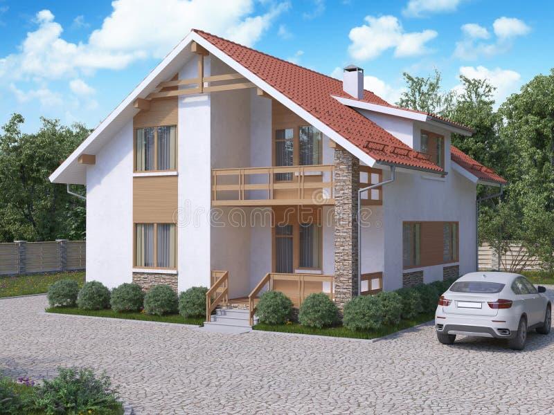 het 3d teruggeven van privé in de voorsteden, twee-verhaal huis in moderne st stock illustratie