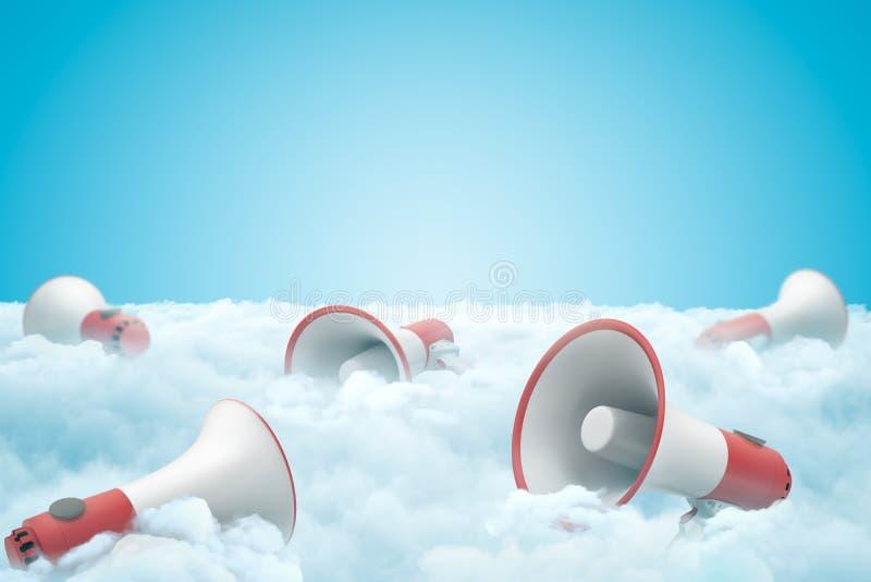het 3d teruggeven van reeks megafoons die op dikke laag witte pluizige wolken met blauwe hierboven hemel liggen vector illustratie