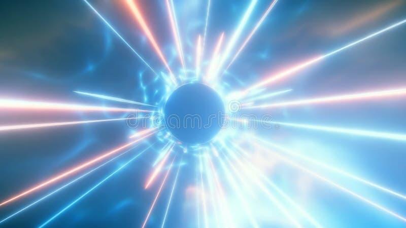 het 3D teruggeven van het reizen in ruimte en tijd bij de snelheid van licht stock illustratie