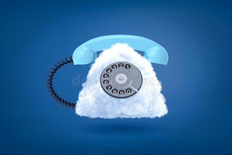 het 3d teruggeven van retro wijzerplaattelefoon met witte wolk in plaats van geval op blauwe achtergrond vector illustratie