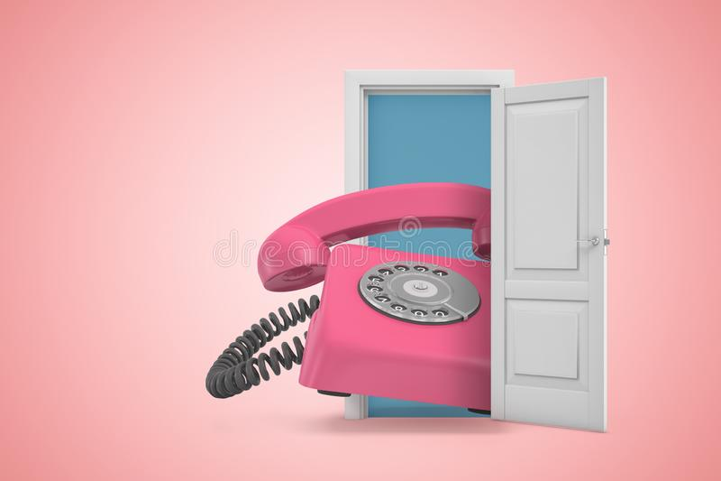 het 3d teruggeven van reusachtige roze retro landline telefoon die uit open deur op roze gradiënt copyspace achtergrond te voorsc vector illustratie