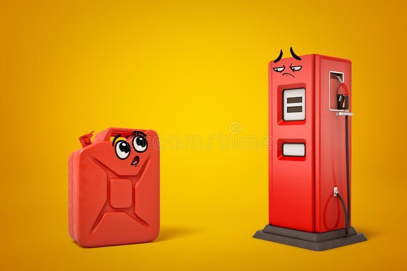 het 3d teruggeven van rode benzine kan en rood benzinestation met beeldverhaallachebekjes op gele achtergrond royalty-vrije illustratie
