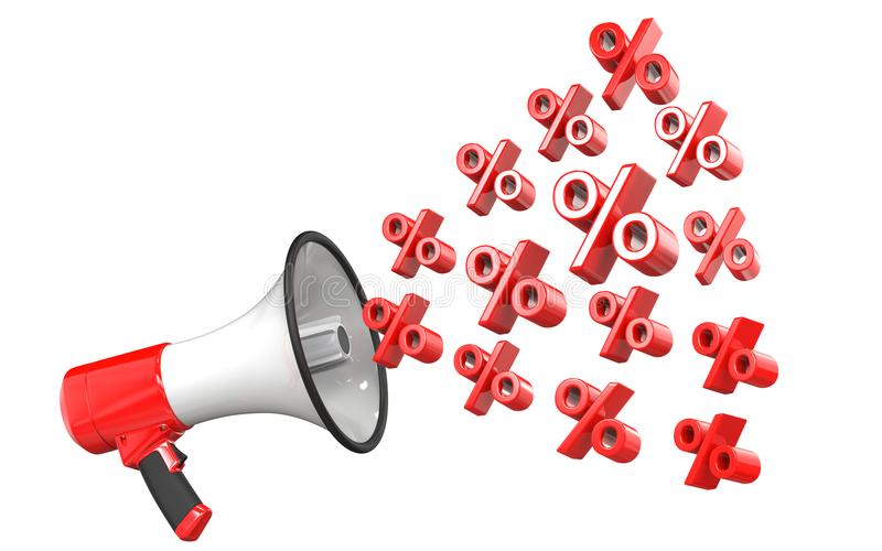 het 3d teruggeven van rode megafoon met percentensymbolen, geïsoleerd op witte achtergrond 3d illustratie van het concept van royalty-vrije illustratie