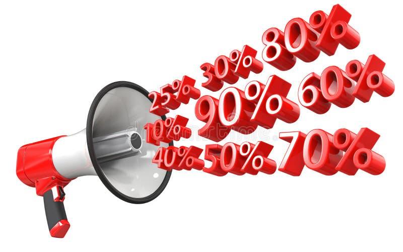 het 3d teruggeven van rode megafoon met percentensymbolen, geïsoleerd op witte achtergrond 3d illustratie van het concept van vector illustratie